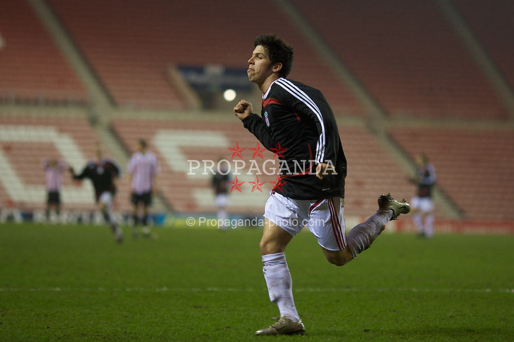 SUNDERLAND, ENGLAND - Wednesday, February 13, 2008: Liverpool's Daniel Pacheco celebrates scoring the third goal against Sunderland to equalise at 3-3 during the FA Youth Cup 5th Round match at the Stadium of Light. (Photo by David Rawcliffe/Propaganda)