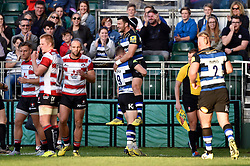 Jeff Williams of Bath Rugby is congratulated on his try - Mandatory byline: Patrick Khachfe/JMP - 07966 386802 - 26/09/2015 - RUGBY UNION - The Recreation Ground - Bath, England - Bath Rugby v Gloucester Rugby - West Country Challenge Cup.