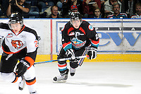 KELOWNA, CANADA, OCTOBER 11: Jesse Lees #2 of the Kelowna Rockets skates on the ice  as the Medicine Hat Tigers visited the Kelowna Rockets on October 11, 2011 at Prospera Place in Kelowna, British Columbia, Canada (Photo by Marissa Baecker/shootthebreeze.ca) *** Local Caption ***Jesse Lees;