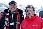 12.Jan.2012; Adelboden; Ski alpin - Riesenslalom Adelboden 2013; Peter Beutler links und Walter Zaugg der Firma Aemmen Getraenke AG.  (Christian Pfander/freshfocus)