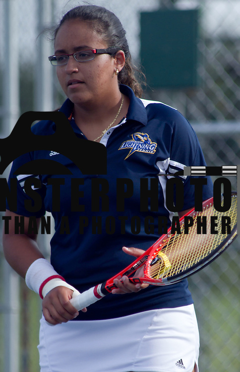 Goldey-Beacom Gabriela Chaves in action during a NCAA regular season tennis match against Caldwell College Friday, Sept. 14, 2012. at Delcastle Recreation Park...Special to Monsterphoto/SAQUAN STIMPSON