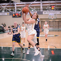 5th year forward Charlotte Kot (1) of the Regina Cougars in action during the Women's Basketball home game on January  19 at Centre for Kinesiology, Health and Sport. Credit: Arthur Ward/Arthur Images