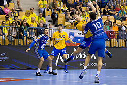 Ziga Mlakar of RK Celje Pivovarna Lasko and Alex Dujshabaev Dovichebaeva of PGE Vive Kielce during handball match between RK Celje Pivovarna Lasko and PGE Vive Kielce in Group Phase A+B of VELUX EHF Champions League, on September 30, 2017 in Arena Zlatorog, Celje, Slovenia. Photo by Urban Urbanc / Sportida