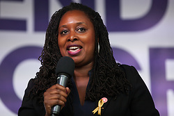 London, UK. 4 September, 2019. Dawn Butler, Shadow Women & Equalities Secretary, addresses thousands of Remain supporters attending a Defend Our Democracy rally in Parliament Square shortly after MPs passed the Brexit delay bill in the House of Commons.