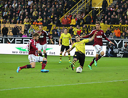 01.03.2014, Signal Iduna Park, Dortmund, GER, 1. FBL, Borussia Dortmund vs 1. FC Nuernberg, 23. Runde, im Bild Robert Lewandowski (Borussia Dortmund #9)mit dem Treffer, Tor, Goal zum 3:0 mit Marvin Plattenhardt (1 FC Nuernberg #21 - links), Aktion, Action // during the German Bundesliga 23th round match between Borussia Dortmund and 1. FC Nuernberg at the Signal Iduna Park in Dortmund, Germany on 2014/03/01. EXPA Pictures © 2014, PhotoCredit: EXPA/ Eibner-Pressefoto/ Schueler<br /> <br /> *****ATTENTION - OUT of GER*****