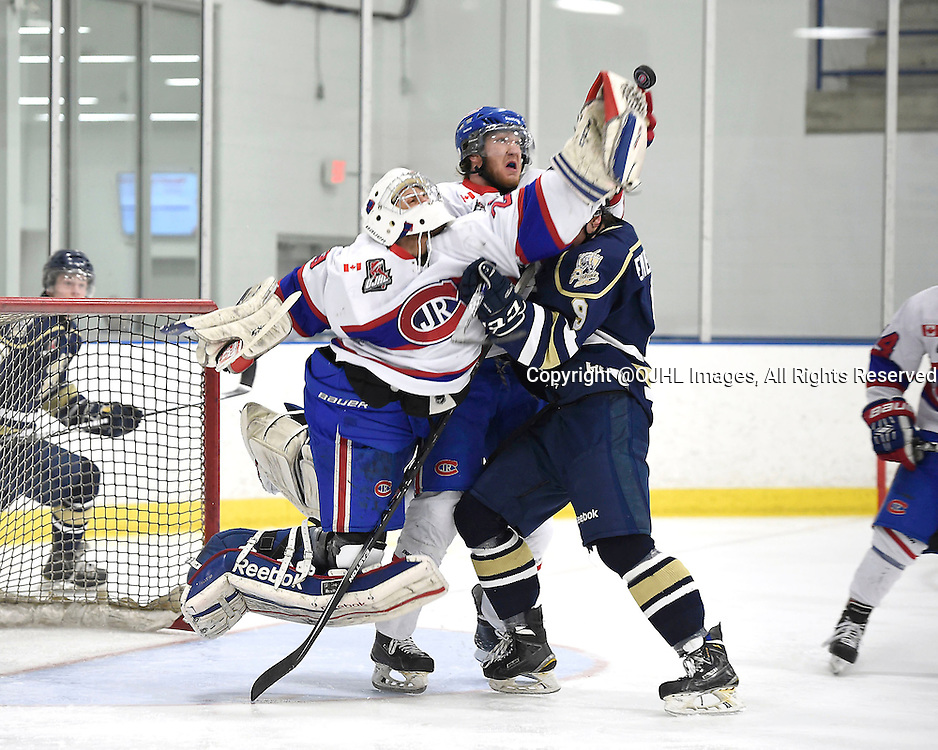 TORONTO, ON - Apr 5, 2015 : Ontario Junior Hockey League game action between the Toronto Patriots and the Toronto Jr. Canadiens. Game six of the South West Championship Series. Nathaniel Colitto #29 of the Toronto Jr. Canadiens battles for the puck during the third period.<br /> (Photo by Andy Corneau / OJHL Images)