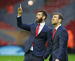 LIVERPOOL, ENGLAND - Sunday, November 8, 2015: Crystal Palace's Joe Ledley and James McArthur walk out onto the pitch before the Premier League match against Liverpool at Anfield. (Pic by David Rawcliffe/Propaganda)