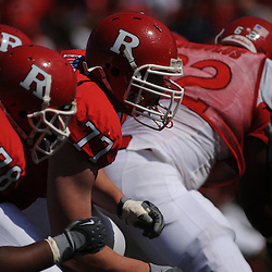 Apr 18, 2009; Piscataway, NJ, USA; Rutgers OL Kevin Haslam (78) ad Art Forst (77) set up to block the incoming defense during the second half of Rutgers' Scarlet and White spring football scrimmage.
