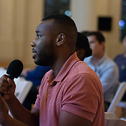 SEPTEMBER 26, 2017---MIAMI, FLORIDA---<br /> Audience members, including many students, ask questions following a panel discussion. This was part of the Miami Dade College series, By the People.<br /> (Photo by Angel Valentin/Freelance).