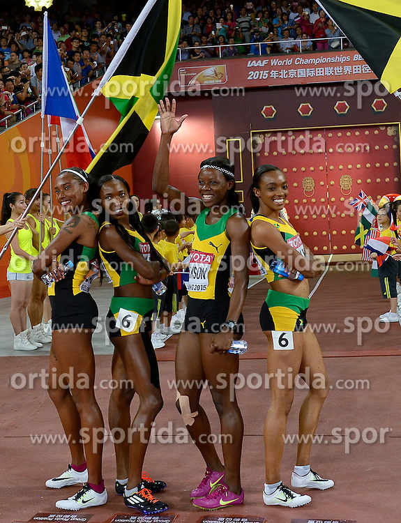 30-08-2015 CHN: IAAF World Championships Athletics day 9, Beijing<br /> 400 m relay  Christine DAY, Shericka JACKSON, Stephenie Ann MCPHERSON en Novlene WILLIAMS-MILLS JAM<br /> Photo by Ronald Hoogendoorn / Sportida