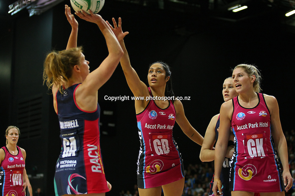 Steels Phoenix Karaka, right, defends Vixens Tegan Caldwells shot at goal in the ANZ championship netball match, Steel v Vixens, ILT Stadium Southland, Invercargill, New Zealand, Saturday, May 31, 2014. Photo: Dianne Manson / www.photosport.co.nz