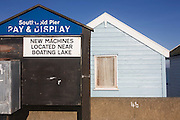 Expensive real estate beach hut at the Suffolk seaside town of Southwold, Suffolk.