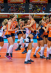 15-10-2018 JPN: World Championship Volleyball Women day 16, Nagoya<br /> Netherlands - USA 3-2 / (L-R) Kirsten Knip #1 of Netherlands, Lonneke Sloetjes #10 of Netherlands, Laura Dijkema #14 of Netherlands, Myrthe Schoot #9 of Netherlands, Maret Balkestein-Grothues #6 of Netherlands, /ml18/, Nicole Koolhaas #22 of Netherlands
