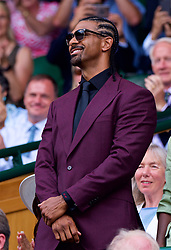 LONDON, ENGLAND - Saturday, July 7, 2018: Boxers David Haye in the Royal Box before the Gentlemen's Singles 3rd Round match on day six of the Wimbledon Lawn Tennis Championships at the All England Lawn Tennis and Croquet Club. (Pic by Kirsten Holst/Propaganda)