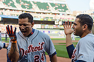 Miguel Cabrera #24 of the Detroit Tigers celebrates with his teammates after hitting a home run during a game against the Minnesota Twins on September 29, 2012 at Target Field in Minneapolis, Minnesota.  The Tigers defeated the Twins 6 to 4.  Photo: Ben Krause