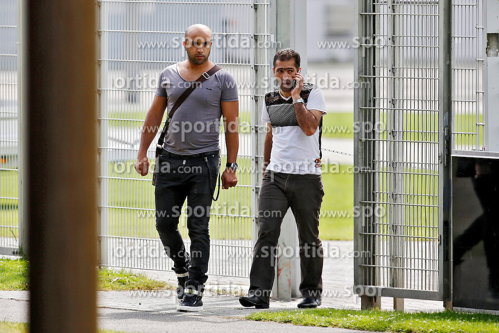 07.07.2014, BayArena, Leverkusen, GER, 1. FBL, Bayer 04 Leverkusen, Training, im Bild Freund Rabii Salhi (links) von Sommer-Neuzugang des Hamburger SV Hakan Calhanoglu mit dessen Vater Hueseyin // during a Trainingssession of German Bundesliga Club Bayer 04 Leverkusen at the BayArena in Leverkusen, Germany on 2014/07/07. EXPA Pictures &copy; 2014, PhotoCredit: EXPA/ Eibner-Pressefoto/ Schueler<br /> <br /> *****ATTENTION - OUT of GER*****