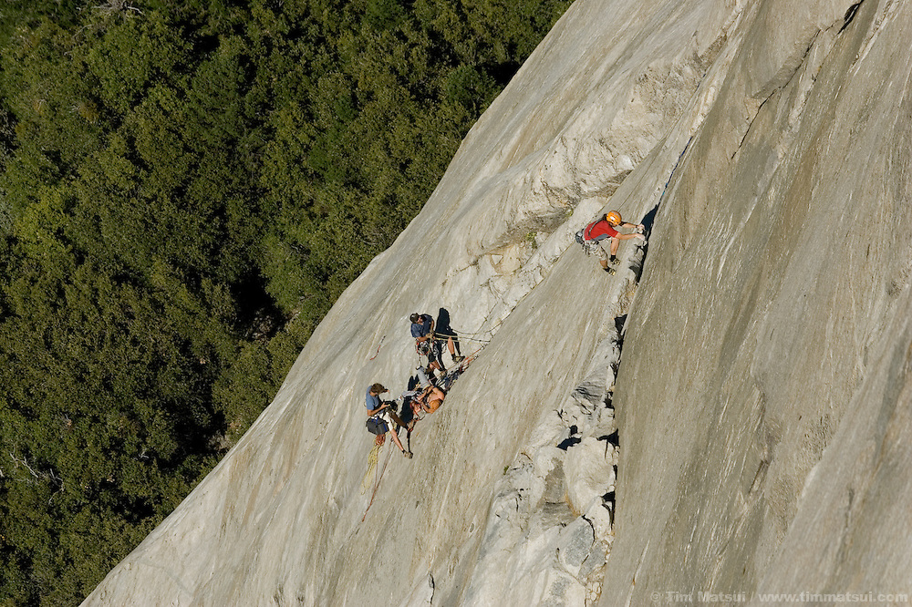 Thomas Huber, belayed by Ammon McNeely, climbs the lower pitches of the Nose on El Capitan for the filming of Am Limit, a Lotus Film production, about the brothers Alex and Thomas's attempt to break the speed climbing record on the Nose of El Capitan in Yosemite National Park, California, USA.