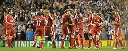 LIVERPOOL, ENGLAND - WEDNESDAY, SEPTEMBER 20th, 2006: Liverpool's Xabi Alonso celebrates an amazing goal against Newcastle United with his team-mates during the Premiership match at Anfield. (Pic by David Rawcliffe/Propaganda)