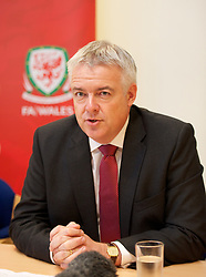 NEWPORT, WALES - Wednesday, July 4, 2012: First Minister Carwyn Jones at a press conference as the Football Association of Wales opens the first 3G pitch at the National Development Centre at the Newport International Sports Village. (Pic by David Rawcliffe/Propaganda)