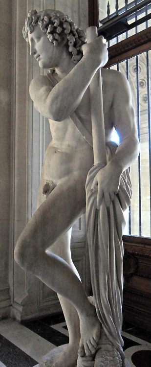 Marble statue of an Atlante Satyr. Belonging to a group of 4 Satyrs. Made during the imperial Roman era.