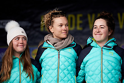 Tayler Wiles (USA) on stage with her Trek Drops teammates at Ronde van Vlaanderen - Elite Women Team Presentation 2018 on March 31, 2018. Photo by Sean Robinson/Velofocus.com
