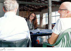 Danny Adcock, Noel Hodda, Jamie Oxenbould & Richard Sydenham rehearse with director Glynn Nicholas for Apocalypse Theatre's production of The Dapto Chaser, by Mary Rachel Brown, on Tuesday, 23 June, 2015.  The show takes place at Griffin Theatre from 1 - 15 July, 2015.  Photo by Robert Catto / robertcatto.com.<br /> <br /> For the Sinclair family, the cut-throat world of greyhound racing is a religion. And their beloved dog Boy Named Sue is more than a greyhound; he's their heart and soul on four legs. With the crucial Winnebago Classic on the horizon, Cess Sinclair has one shot at reversing his family's fortunes for good. Against all the odds, he's betting on a miracle.<br /> <br /> The Dapto Chaser is warts-and-all Australian comedy that gets its hands dirty with the adrenaline, sweat and guts of the dog racing sub-culture. The Sinclairs are a family trapped in the pressure cooker of gambling addiction and when things don't go to plan, they are forced to gamble the most important commodity of all – their relationship to each other.<br /> <br /> Playwright Mary Rachel Brown wrote The Dapto Chaser perched in the bleachers track-side, while director Glynn Nicholas will be going on an all-schnitzel diet to get it over the line.