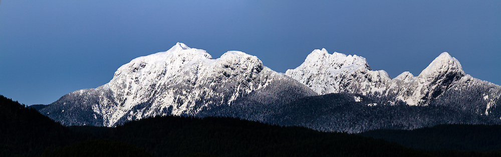 "Panorama of the ""Golden Ears"" Mountains - Blandshard Peak and Edge Peak from Pitt Meadows, British Columbia, Canada"