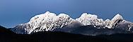 "Panorama of the ""Golden Ears"" Mountains - Blandshard Peak and Edge Peak from Pitt Meadows, British Columbia, Canada"