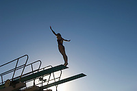 Female swimmer standing on diving board at sunset