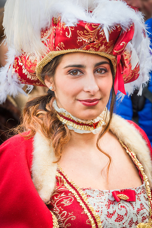 a young lady is seen dressed in a costume during the 2017 venice carnival
