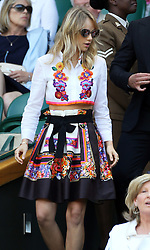 Image licensed to i-Images Picture Agency. 04/07/2014. London, United Kingdom.  Suki Waterhouse  arriving in the Royal box  on day eleven of the Wimbledon Tennis Championships . Picture by Stephen Lock / i-Images