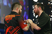 Michael Smith celebrates his win over Luke Humphries during the World Darts Championships 2018 at Alexandra Palace, London, United Kingdom on 29 December 2018.