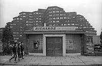 All that remained of Richards Cutlers, Charter Row, Sheffield after demolition on 4 December 1984. The site is now a Wickes store, in the background is the  Manpower building at Moorfoot.
