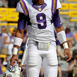 October 22, 2011; Baton Rouge, LA, USA;  LSU Tigers quarterback Jordan Jefferson (9) prior to kickoff of a game against the Auburn Tigers at Tiger Stadium.  Mandatory Credit: Derick E. Hingle-US PRESSWIRE / © Derick E. Hingle 2011