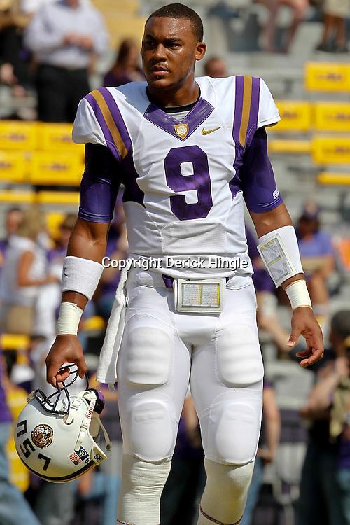 October 22, 2011; Baton Rouge, LA, USA;  LSU Tigers quarterback Jordan Jefferson (9) prior to kickoff of a game against the Auburn Tigers at Tiger Stadium.  Mandatory Credit: Derick E. Hingle-US PRESSWIRE / © Derick E. Hingle 2011