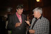 Stephen Fry and Geoffrey Robertson, Krug host the launch of Kathy Lette's book. ' How to Kill Your Husband' the Courthouse Hotel Great Marlborough St. London. 26 April 2006. ONE TIME USE ONLY - DO NOT ARCHIVE  © Copyright Photograph by Dafydd Jones 66 Stockwell Park Rd. London SW9 0DA Tel 020 7733 0108 www.dafjones.com