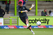 Forest Green Rovers goalkeeper Robert Sanchez(1) warming up during the EFL Sky Bet League 2 match between Forest Green Rovers and Port Vale at the New Lawn, Forest Green, United Kingdom on 8 September 2018.