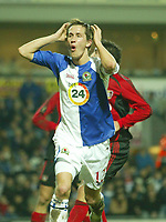 Photo: Aidan Ellis.<br /> Blackburn Rovers v Bayer Leverkusen. UEFA Cup, 2nd Leg. 22/02/2007.<br /> Rovers Morten Gamst Pedersen cant believe he has just missed a chance to score