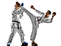 two karate men sensei and teenager student fighters fighting protections isolated on white background