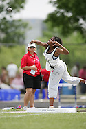 London, Ontario ---07/06/08--- Jonelle Bell-Spence of Bramalea in Brampton competes in the shot put at the 2008 OFSAA Track and Field meet in Hamilton, Ontario..GEOFF ROBINS