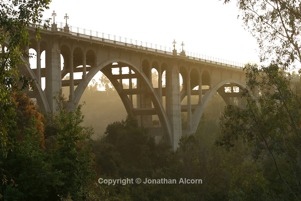 The Colorado Street Bridge, also known as Suicide Bridge, was built in 1913 in Pasadena, California spanning over the Arroyo Seco It spans 1,486 feet (453 m) and is notable for its distinctive Beaux Arts arches, light standards, and railings. The bridge is on the National Register of Historic Places