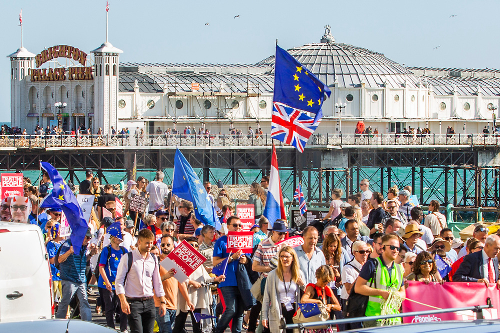 © Licensed to London News Pictures. 21/09/2019. Brighton, A trust the people march and rally takes place throughout Brighton during the Labour Party Conference 2019. UK. Photo credit: Hugo Michiels/LNP