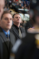 KELOWNA, CANADA - JANUARY 26: Dave Manson, coach of the Prince Albert Raiders stands on the bench at the Kelowna Rockets on January 26, 2013 at Prospera Place in Kelowna, British Columbia, Canada (Photo by Marissa Baecker/Shoot the Breeze) *** Local Caption ***