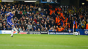 Oscar shoots from the penalty spot during the Champions League match between Chelsea and Maccabi Tel Aviv at Stamford Bridge, London, England on 16 September 2015. Photo by Andy Walter.