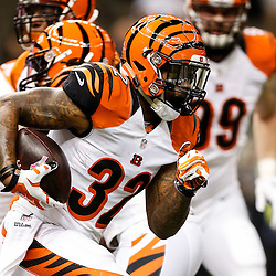 Nov 16, 2014; New Orleans, LA, USA; Cincinnati Bengals running back Jeremy Hill (32) prior to kickoff of a game against the New Orleans Saints at the Mercedes-Benz Superdome. Mandatory Credit: Derick E. Hingle-USA TODAY Sports