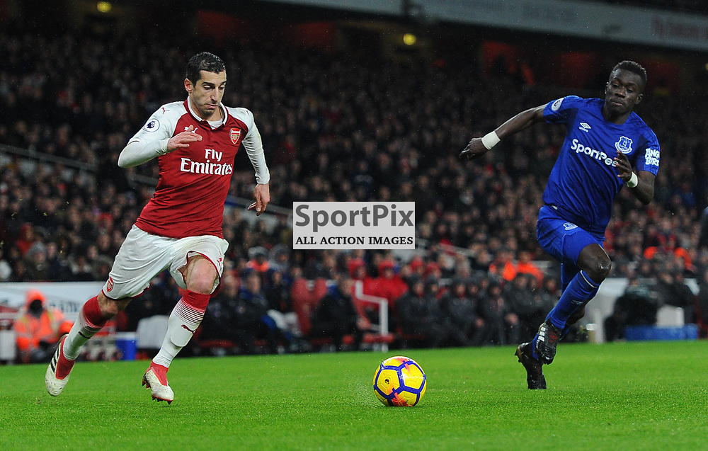 Henrikh Mkhitaryan of Arsenal runs with the ball under pressure from Idrissa Gueye of Everton during Arsenal vs Everton, Premier League, 03.02.18 (c) Harriet Lander | SportPix.org.uk