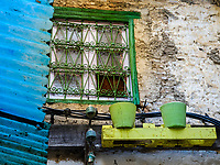 FEZ, MOROCCO - CIRCA APRIL 2017:  Typical windows and decorations around the Medina in Fez