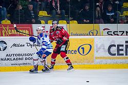 22.12.2017, Ice Rink, Znojmo, CZE, EBEL, HC Orli Znojmo vs EC VSV, 31. Runde, im Bild v.l. Sam Antonitsch (EC VSV) Stepan Csamango (HC Orli Znojmo) // during the Erste Bank Icehockey League 31th round match between HC Orli Znojmo and EC VSV at the Ice Rink in Znojmo, Czech Republic on 2017/12/22. EXPA Pictures © 2017, PhotoCredit: EXPA/ Rostislav Pfeffer
