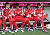FUSSBALL   1. BUNDESLIGA  SAISON 2011/2012   27. Spieltag FC Bayern Muenchen - Hannover 96       24.03.2012 Auf der Bank, Nils Petersen, Mario Gomez, Thomas Mueller , Diego Contento (v. li., FC Bayern Muenchen)