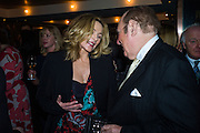 KIM CATTRALL; ANDREW NEIL, Spectator Life - 3rd birthday party. Belgraves Hotel, 20 Chesham Place, London, SW1X 8HQ, 31 March 2015